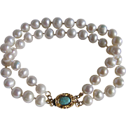 December Birthstone 18kt GP Turquoise Cabochon Vintage Clasp with 2 strands of 7mm Cultured Freshwater Pearls Bracelet