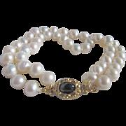 January Birthstone 18kt GP Garnet Cabochon Vintage Clasp with 2 strands of 7mm Freshwater Pearls Bracelet
