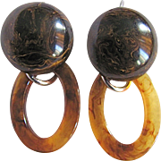 Vintage Chocolate Bakelite Cabochon and Oval DAngle Lucite Tortoise Shell on Dormeuse Pierced Earrings