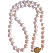 Little Creations November Birthstone 18GP Clasp with Topaz Colored  Catseye Cabochon/ Freshwater Pearls. 7mm Necklace