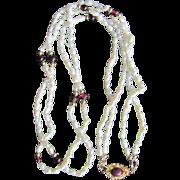 Vintage 18kt GP Garnet Cabochon Clasp with 2 strand Japanese Cultured Freshwater Rice Pearls & Garnet Necklace