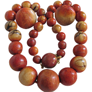 Vintage Appraised $2465 Natural Sponge Coral Graduated Large Bead Necklace and Matching Pierced Earrings