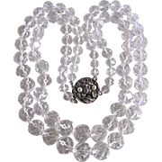 Art Nouveau Style Clasp Appraised $1660 Facetted Rock Crystal Graduated Double Strand Necklace
