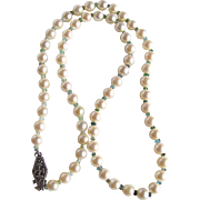 Vintage Appraised $1665 Very Fine Cultured AA  Akoya Pearls and Seawater Tourmaline Necklace