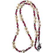 Vintage Appraised $1450 Enhanced Ruby and Very Fine Cultured AA Akoya Pearl Necklace