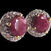 Vintage Appraised $580 Ruby and CZ Vermeil Pierced Earrings
