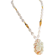 Vintage 18kt GP Jade Carved Rose Pendant on Rose Quartz and Citrine and Moonstone Necklace Certified Appraisal $2375