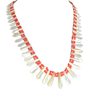 Victorian Appraised $750 Graduated Carved Mother Of Pearl and Cerise Coral Bead Necklace