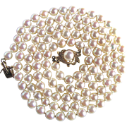 "Vintage 14kt Appraised $4370 Cultured Akoya Fine Quality ""AA"" Pearl 5.50-6mm Opera 30 1/2"" Necklace"