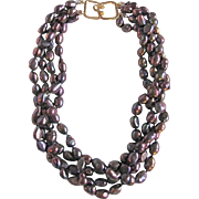 Vintage Certified Chinese South Sea Treated Baroque Cultured Pearls Torsade Necklace Appraised $1275