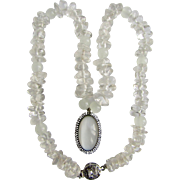 Upcycled Certified Victorian Sterling Silver Moonstone Pendant and Rock Crystal Bead Necklace Appraised $1485