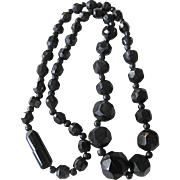 Antique Victorian Whitby Jet Bead Facetted Necklace Certified Appraisal $2200