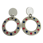 Vintage DOT Celluloid Large hoop earrings with dots