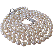 Vintage Certified 14kt Akoya A Cultured Pearl 2 Strand Necklace Appraised Value $2750