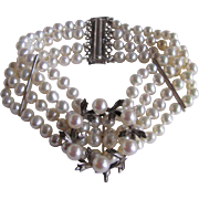 Vintage Certified Cultured Biwa Pearl 4 Strand Bracelet with Akoya AAA Brooch Enhancer Appraised Value $1360