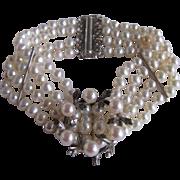 Vintage Certified Cultured Biwa Pearl 4 Strand Bracelet with Akoya AAA Brooch Enhancer Appraised Value $1360