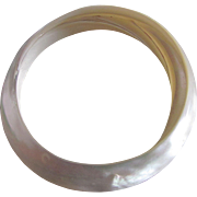 Victorian Carved Mother Of Pearl ONE single Piece Shell Bangle Bracelet