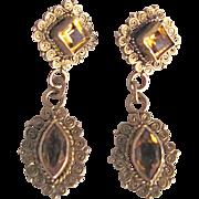 Antique Victorian Vermeil Citrine Gemstone Hand made Cannetille Pierced earrings