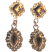 Antique Victorian Vermeil Citrine Gemstone Hand made Cannetille Pierced earrings