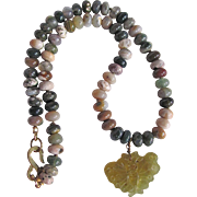 Vintage Signed Kenneth Lane Carved Jadeite Pendant and Gemstone Agate bead Necklace Certified Appraisal $860