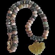 Vintage Signed Kenneth Lane Carved Jadeite Pendant and Gemstone Agate bead Necklace