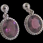 Vintage Sterling Silver Amethyst Glass Gemstone Signed Danecraft Screwback Earrings