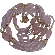 Vintage 18kt GP Rose Quartz and Freshwater Flapper Multi Strand Necklace and Bracelet Appraised $1820