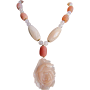Vintage 18kt GP Moonstone Cabochon and Rose Quartz bead and Pendant  Necklace Certified Appraisal $2380