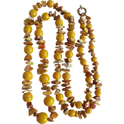 "Vintage Russian Egg Yolk Amber and Dyed Yellow Graduated Sponge Coral Bead 48"" Rope Necklace Certified Appraisal $1285"