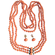 Antique Victorian Natural Mediterranean Salmon Coral 3 Strand Necklace & Matching Earrings /Certified Appraisal $1735