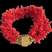 Vintage Vermeil Branch Coral 4 strand Dyed Red Torsade Bracelet Certified Appraisal $450