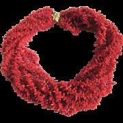 Vintage Vermeil Branch Coral Dyed 8 Strand Torsade Necklace Certified Appraisal $1820