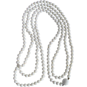 """Vintage Japanese White Coral 56"""" Rope Length Necklace with Certified Appraisal $1135"""