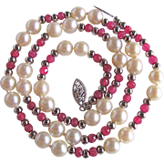 Vintage 14kt Enhanced Ruby and Akoya AA Pearl Necklace Certified Appraisal $1575