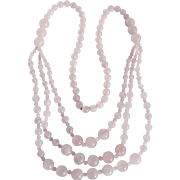 Vintage Triple Strand Rose Quartz / Pear Shape Clip earrings & Festoon Endless Necklace Certified Appraisal $2630