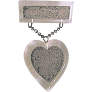 World War II South Pacific Sweet Heart Lucite and Engraved SP Plaques 2 part Valentine Brooch