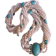Vintage Biwa Cultured Pearl 7 Strand & Vermeil Clasp with Turquoise Oval Cabochon Torsade Necklace Certified Appraisal $2375