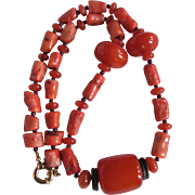Vintage Reconstituted Amber and Natural Enhanced Coral Tubular beads Necklace Certified Appraisal $1450