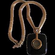Mid Century Trifari Black Bakelite Pendant on mesh Snake Chain