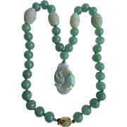 Vintage 18kt GP Jadeite Pendant & Dyed Jadeite Beads with 4 Peking Glass Accent Beads Necklace Certified Appraisal $1885