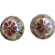 Art Nouveau Style Plique a Jour Domed Stained Glass Pierced Earrings