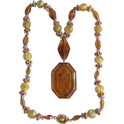 Art Deco 18kt GP Amber Glass & Carved Glass Intaglio Tulip Pendant Necklace with Certified Appraisal $525