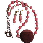 Vintage Rose Quartz with Natural Baroque Pearl and Sugelite Pendant Necklace & Pierced Earrings Certified Appraisal $950
