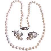 Vintage 14kt Akoya Cultured Pearl Graduated Necklace and Silver Omega Matching Pearl Earrings Certified Appraisal $$1905