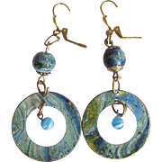 Vintage Enamel Turquoise Blue Marbleized on Copper with French Clip Leverback Earrings