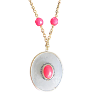 Victorian Certified Appraised $1250 Rock Crystal with Red Paste Cabochon Pendant