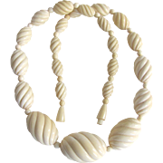 VINTAGE Carved VEGETABLE IVORY Tagua Nut Graduated Bead Necklace Certified Appraisal $1850