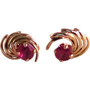 Vintage 14kt Genuine Ruby Pierced Earrings Certified Appraisal $450
