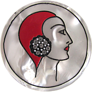 Art Deco Flapper Head shot Engraved with Rhinestone embedded / Hand Painted on Lucite MOP Brooch