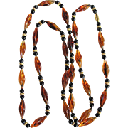 """Victorian Revival Avon """"About Town"""" Real Dominican Republic Reformed Amber & Black & Brass Beads Opera Necklace Certified Appraisal $1150"""